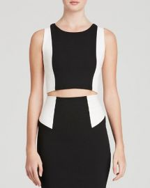 Alice and Olivia Top - Seamed Color Block Fitted Crop at Bloomingdales