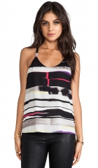 Alice and Olivia Waterfall Drape Back Tank in Horizontal Painted Stripe  REVOLVE at Revolve