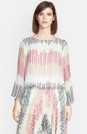 Alice and Olivia and39Briarand39 Multi Stripe Pleated Bell Sleeve Top at Nordstrom