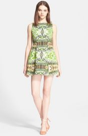 Alice and Olivia and39Carrieand39 Print Stretch Cotton Fit andamp Flare Minidress at Nordstrom