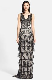 Alice and Olivia and39Powelland39 Tiered Lace Column Gown at Nordstrom