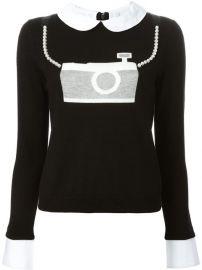 Aliceandolivia Camera Jacquard Peter Pan Collar Sweater - Jeurissen at Farfetch