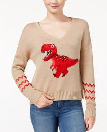 Almost Famous Juniors  Sequin T-Rex Graphic Sweater at Macys