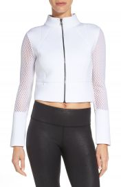 Alo  Perforated Scuba Crop Jacket at Nordstrom