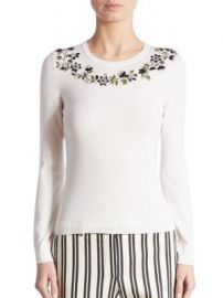 Altuzarra - Hermione Floral-Embellished Merino Wool Sweater at Saks Fifth Avenue