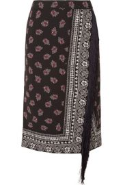 Altuzarra   Jude fringed wrap-effect printed crepe skirt at Net A Porter