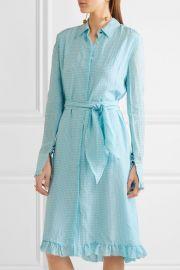 Altuzarra Laguna ruffle-trimmed gingham crinkled-crepe dress at Net A Porter