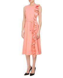 Altuzarra Lavinia Pleated-Trim Midi Dress with Belt  Pink at Neiman Marcus
