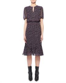 Altuzarra Short-Sleeve Floral-Print Silk Dress at Neiman Marcus