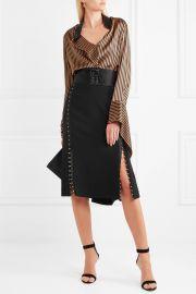 Altuzarra Welkes embellished silk satin-trimmed crepe skirt at Net A Porter