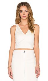 Amanda Uprichard Ponte Crop Top in Ivory from Revolve com at Revolve