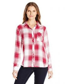 Amazon com  Rails Women  39 s Hunter Plaid Button-Front Shirt with Pocket  Clothing at Amazon