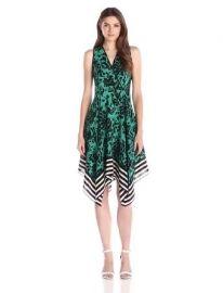 Amazon com  Shoshanna Women  39 s Floral with Stripe Border Emmy Dress  Jade Multi  8  Clothing at Amazon