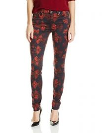 Amazoncom 7 For All Mankind Womenand39s Skinny Jean In Rouge Roses Print Clothing at Amazon