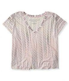 Amazoncom Aeropostale Womenand39s Stars Crop Boxy V-Neck Tee Shirt Clothing at Amazon
