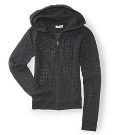 Amazoncom Aeropostale Womens Crochet Full Zip Hoodie Sweatshirt 079 Xs Clothing at Amazon