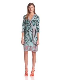 Amazoncom BCBGMAXAZRIA Womenand39s Adele Printed Wrap Dress Tahiti Blue Small Clothing at Amazon