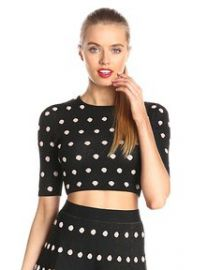 Amazoncom BCBGMAXAZRIA Womenand39s Aryen Polka Dot Crop Top at Amazon