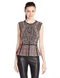 Amazoncom BCBGMAXAZRIA Womenand39s Collette Jacquard Peplum Top Clothing at Amazon