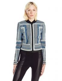 Amazoncom BCBGMAXAZRIA Womenand39s Duke Embroidered Jacket Clothing at Amazon