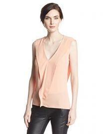 Amazoncom BCBGMAXAZRIA Womenand39s Ellan Sleeveless Top with Ruffle Clothing at Amazon
