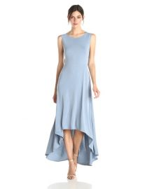 Amazoncom BCBGMAXAZRIA Womenand39s Fara High-Low Dress with Twist Open Back Clothing in Blue at Amazon