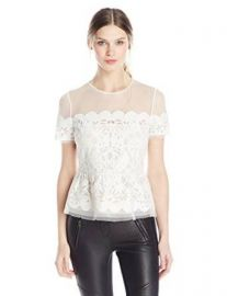Amazoncom BCBGMAXAZRIA Womenand39s Kasandra Scalloped Burnout-Peplum Top Clothing at Amazon