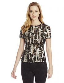 Amazoncom BCBGMAXAZRIA Womenand39s Larson Brushstroke Sequin Top Clothing at Amazon