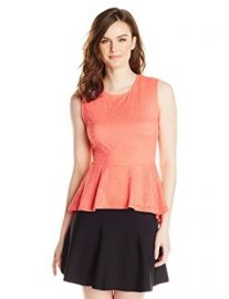 Amazoncom BCBGMAXAZRIA Womenand39s Lynaand39 Sleeveless Peplum Top Clothing at Amazon