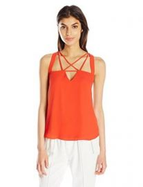 Amazoncom BCBGMAXAZRIA Womenand39s Raelyn Open Neck Woven Top Clothing at Amazon