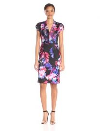 Amazoncom Betsey Johnson Womenand39s Scuba Placement-Floral Dress Clothing at Amazon