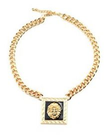 Amazoncom Black Accent Square Lion Head Pendant 16andquot Gold Tone Link Chain Necklace INC3019G Clothing at Amazon