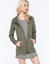 Amazoncom FULL TILT Hooded Twill Womens Anorak Jacket Clothing in Green at Amazon