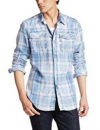 Amazoncom G-Star Raw Menand39s Landoh Longsleeve Button-Up Shirt In Indigo Heap Check Rinsed Clothing at Amazon