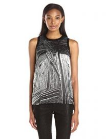 Amazoncom Helmut Lang Womenand39s Method Print Silk Hi-Lo Sleeveless Top Clothing at Amazon