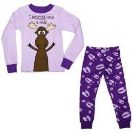 Amazoncom Lazy One Girlsand39 Moose Hug Long Sleeve s PJ Set Clothing at Amazon