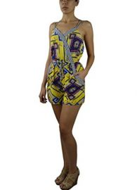 Amazoncom LnLClothing Abstract Print Surplice Romper ID20660-YL21-D1-10 Clothing at Amazon