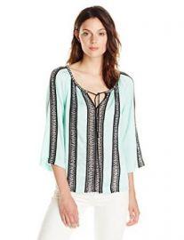 Amazoncom Nanette Lepore Womenand39s Tropical Ribbon Trim 34 Sleeve Blouse Clothing at Amazon