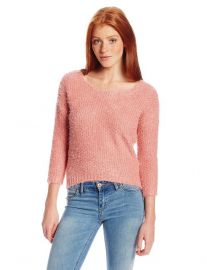Amazoncom PINK ROSE Juniors Deep Scoop Eyelash Crop Sweater Clothing in rose at Amazon