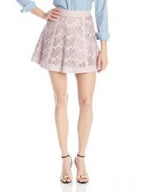 Amazoncom Parker Womenand39s Filomena Laser-Cut Leather Flared Skirt Clothing at Amazon