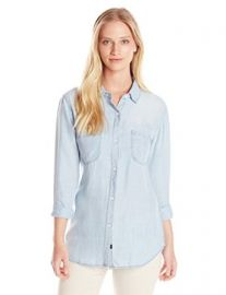 Amazoncom Rails Womenand39s Carter Chambray Polka Dot Button Down Shirt Clothing at Amazon