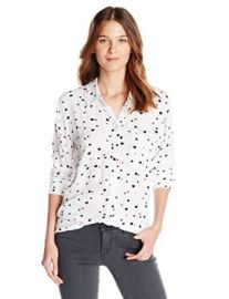Amazoncom Rails Womenand39s Rocsi Heart-Print Button-Front Shirt Clothing at Amazon