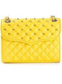 Amazoncom Rebecca Minkoff Leather Quilted Mini Affair With Studs Marigold Yellow Chain Crossbody Shoes at Amazon