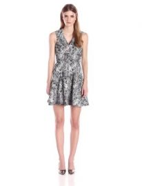 Amazoncom Rebecca Taylor Womenand39s Animal Jacquard Flared Dress Clothing at Amazon