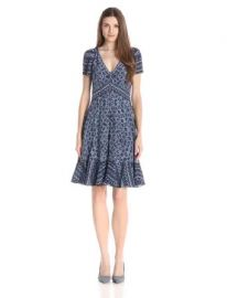 Amazoncom Rebecca Taylor Womenand39s Short-Sleeve Marrakech Paisley Dress Clothing at Amazon
