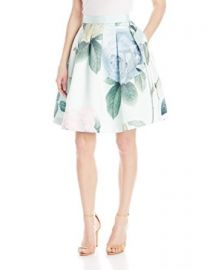 Amazoncom Ted Baker Womenand39s Maarii Distinguishing Rose-Print Full Skirt Clothing at Amazon