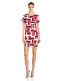 Amazoncom Trina Turk Womenand39s Emilie Brick Geo Woven Dress Multi 2 Clothing at Amazon