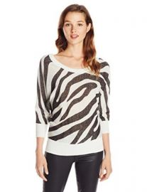 Amazoncom XOXO Juniors Zebra Button Back Pullover Sweater Ivory Medium Clothing at Amazon