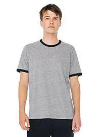 American Apparel Men s Mock Twist Jersey Crewneck Ringer T-Shirt at Amazon