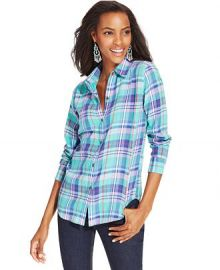 American Living Plaid Button-Front Shirt at Macys